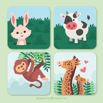 Cartões com animais felizes na natureza