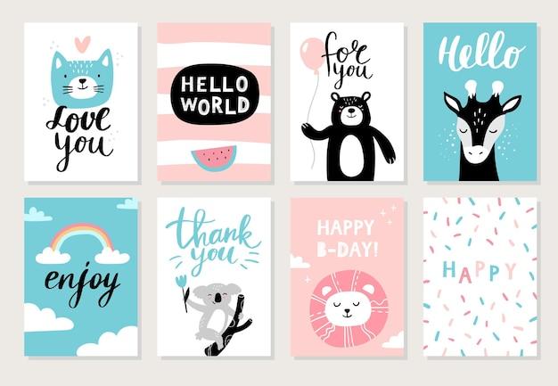 Cartões com animais fofos desenhados à mão
