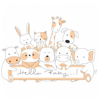 Cartões com animais fofos dos desenhos animados