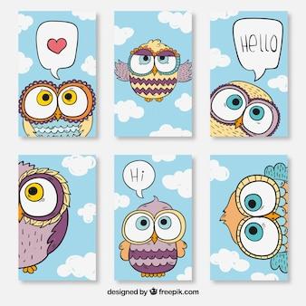 Cartões com design de coruja
