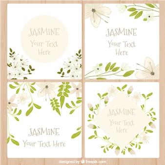 Cartões com design de jasmim