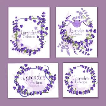 Cartões com flores detalhadas realistas de lavanda