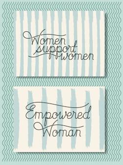 Cartões com fonte feminista mensagem mão feita