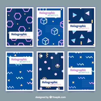 Cartões com formas geométricas de efeito holográfico