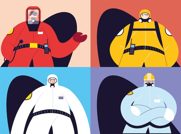 Cartões com homens em trajes de proteção