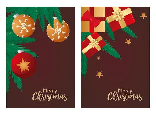 Cartões com letras de feliz natal com presentes vermelhos e ilustração de bolas
