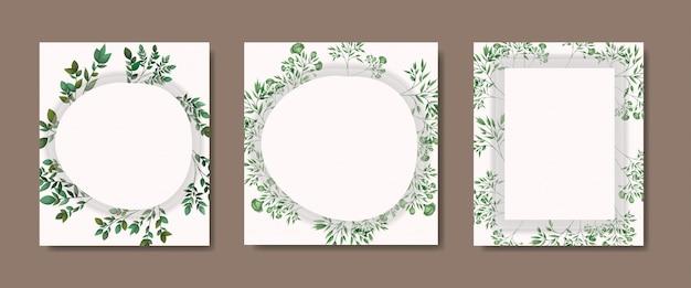 Cartões com moldura geométrica e folhas de louro