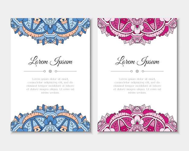 Cartões com padrão de mandala colorida.