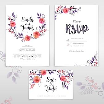 Cartões com rosas e bagas, pode ser usado como cartão de convite de casamento, aniversário e outras férias, fácil de fazer outros padrões e conjuntos