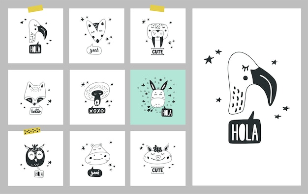 Cartões com rostos desenhados à mão de animais selvagens