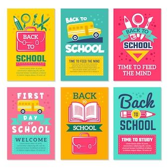 Cartões com símbolos de escolas. voltar ao modelo de cartões da escola isolar.