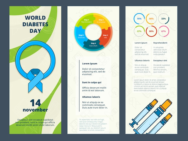 Cartões com símbolos médicos, de cartões com símbolos diabéticos