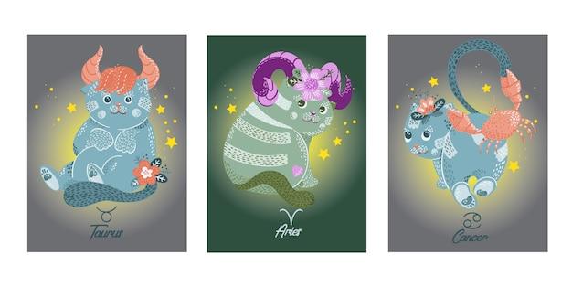 Cartões com sinais do zodíaco de gatos