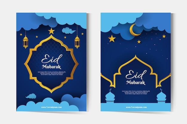 Cartões comemorativos eid mubarak com mesquita, lua crescente e lanternas à noite