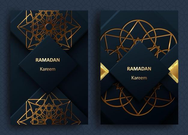 Cartões comemorativos islâmicos do feriado sagrado do ramadã kareem com decoração geométrica de ouro