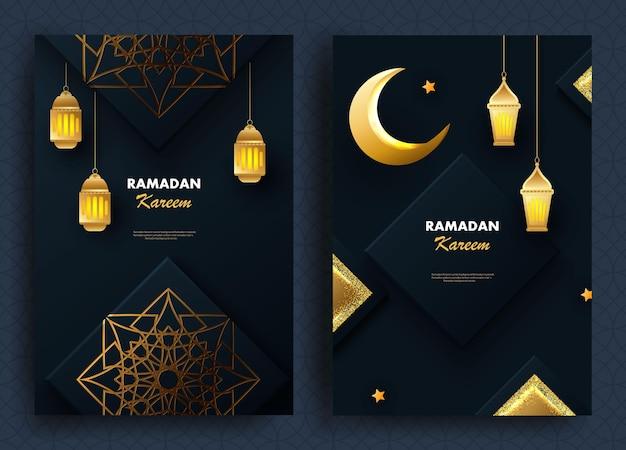 Cartões comemorativos islâmicos do feriado sagrado do ramadã kareem com decoração geométrica dourada, lâmpadas e lua crescente