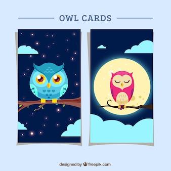 Cartões coruja no design plano