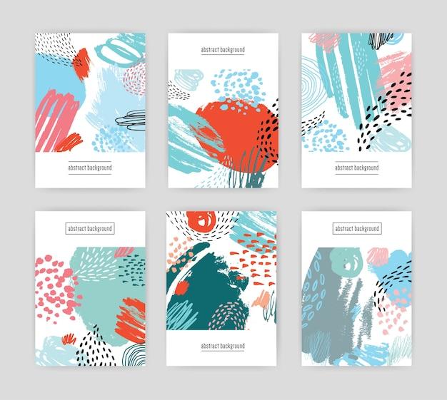 Cartões criativos com design abstrato, texturas de doodle desenhado à mão