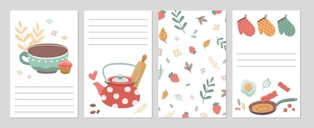 Cartões culinários. páginas do caderno de receitas de cozinha, modelo de papel de notas. talheres de ferramentas e comida, chá. ilustração do vetor de listas de verificação de café restaurante ou mercearia em casa. receita culinária e culinária