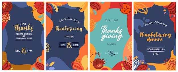 Cartões de ação de graças, convites, ilustração vetorial, ilustração vetorial desenhada à mão, tipografia de ação de graças