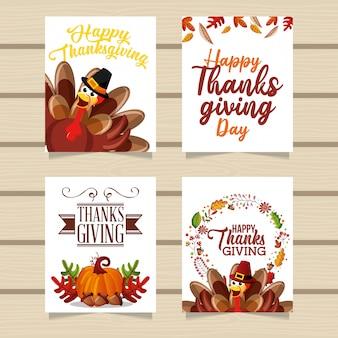 Cartões de ação de graças feliz