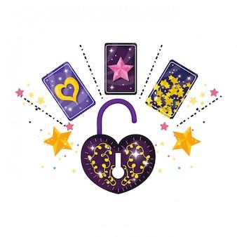 Cartões de adivinhação e cadeado com formato de coração