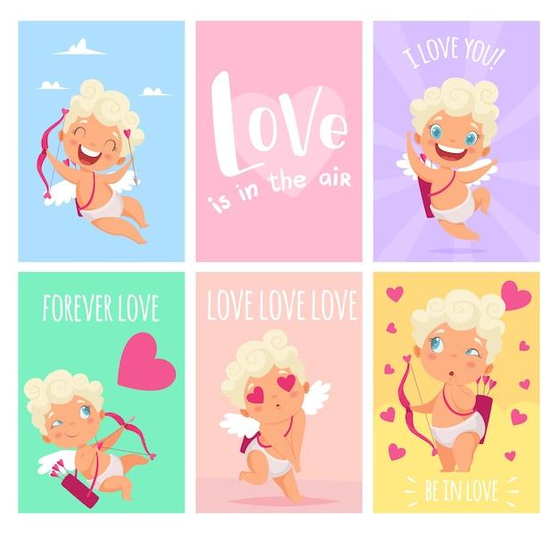 Cartões de amor. bonitinhos amurs ou cupidos. banners de dia de são valentim, fundo de sentimentos.