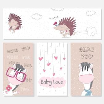 Cartões de animais fofos para crianças