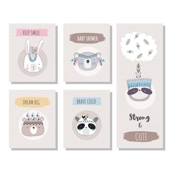 Cartões de animais fofos