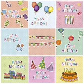 Cartões de aniversário coleção