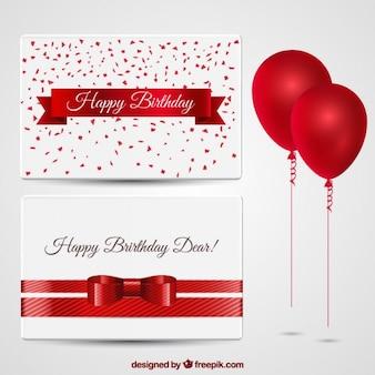 Cartões de aniversário com balões vermelhos