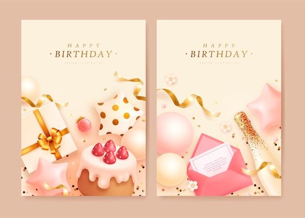 Cartões de aniversário com bolo realista e caixa de presente