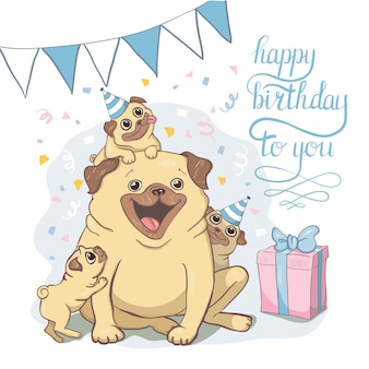 Cartões de aniversário com cães bonitos dos desenhos animados.