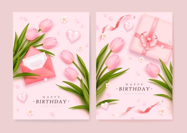 Cartões de aniversário com caixa de presente realista e tulipas