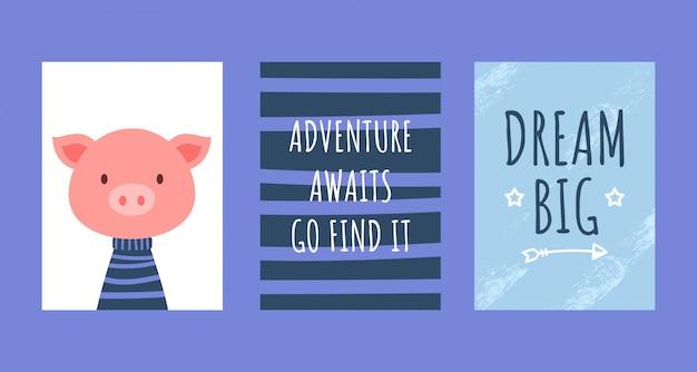 Cartões de aniversário com citações, porquinho fofo
