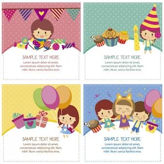 Cartões de aniversário com crianças bonitos