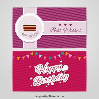 Cartões de aniversário com fundo listrado