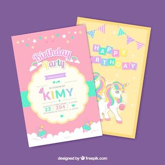 Cartões de aniversário com unicórnios