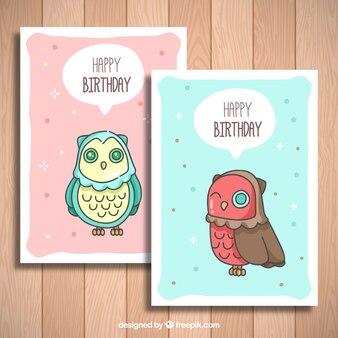 Cartões de aniversário coruja bonita