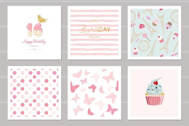 Cartões de aniversário e conjunto de padrões sem costura