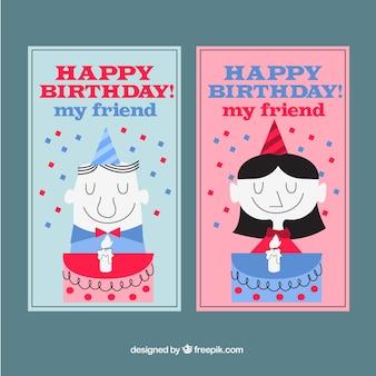 Cartões de aniversário em tons azuis e vermelhos