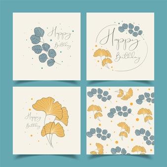 Cartões de aniversário lindamente decorados com muitas flores.