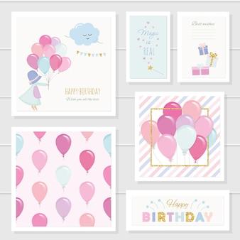 Cartões de aniversário para meninas com balões e elementos brilhosos