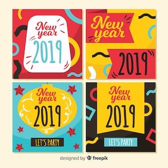 Cartões de ano novo 2019