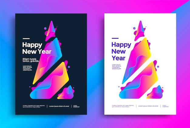 Cartões de ano novo com árvore de natal colorida estilizada