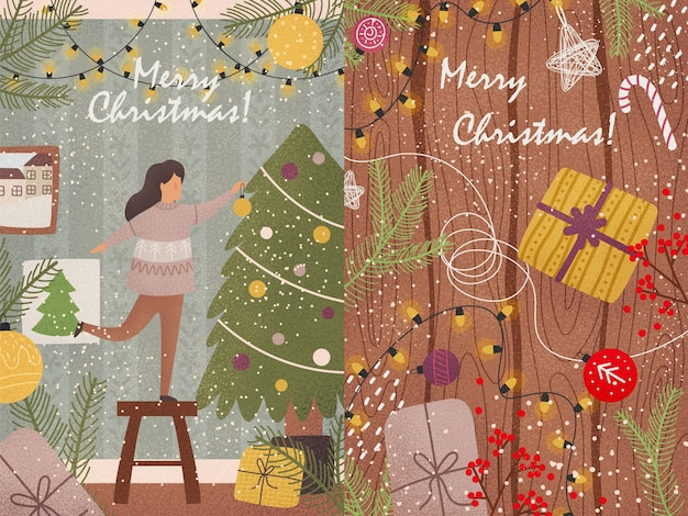 Cartões de ano novo com cores brilhantes