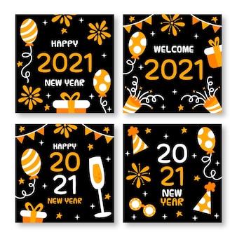 Cartões de ano novo de 2021 desenhados à mão