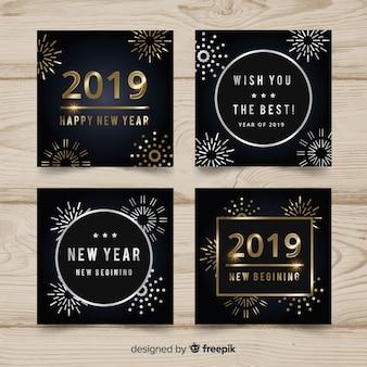 Cartões de ano novo de prata e ouro 2019