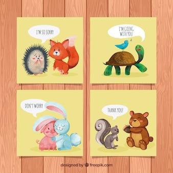 Cartões de aquarela com amizade entre animais