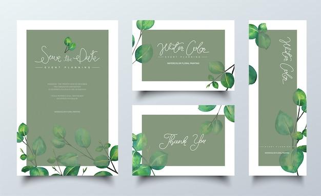 Cartões de aquarela naturais com folhas verdes